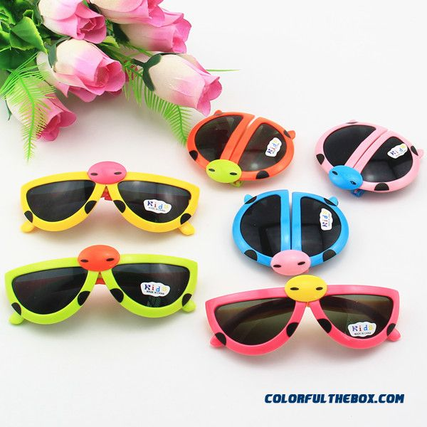 New Boys And Girls Cartoon Kids Beetle Ladybug Sunglasses Folding Glasses Accessories Wholesale