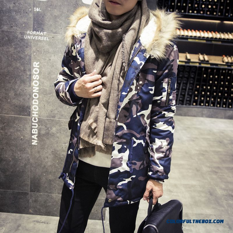 New Brand Fashion Men Camouflage Fur Hooded Coat Fertilizer Increase Code Medium Style