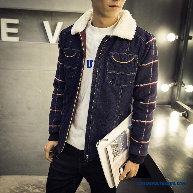 New Brand Fashion Men Denim Cotton Coats Lapel Fertilizer Increase Code Young Tide