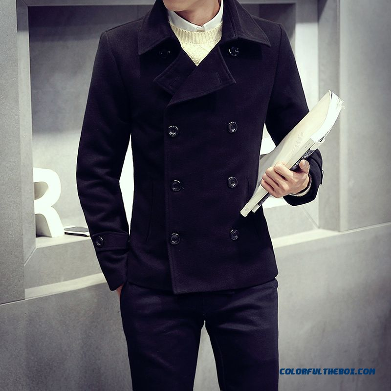 New Brand Fashion Men Fertilizer Increase Code Thicken Woolen Coats Black Short