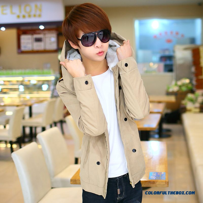 New Brand Fashion Men Hooded Coats Plus Cotton Fertilizer Increase Code Khaki Green Vogue