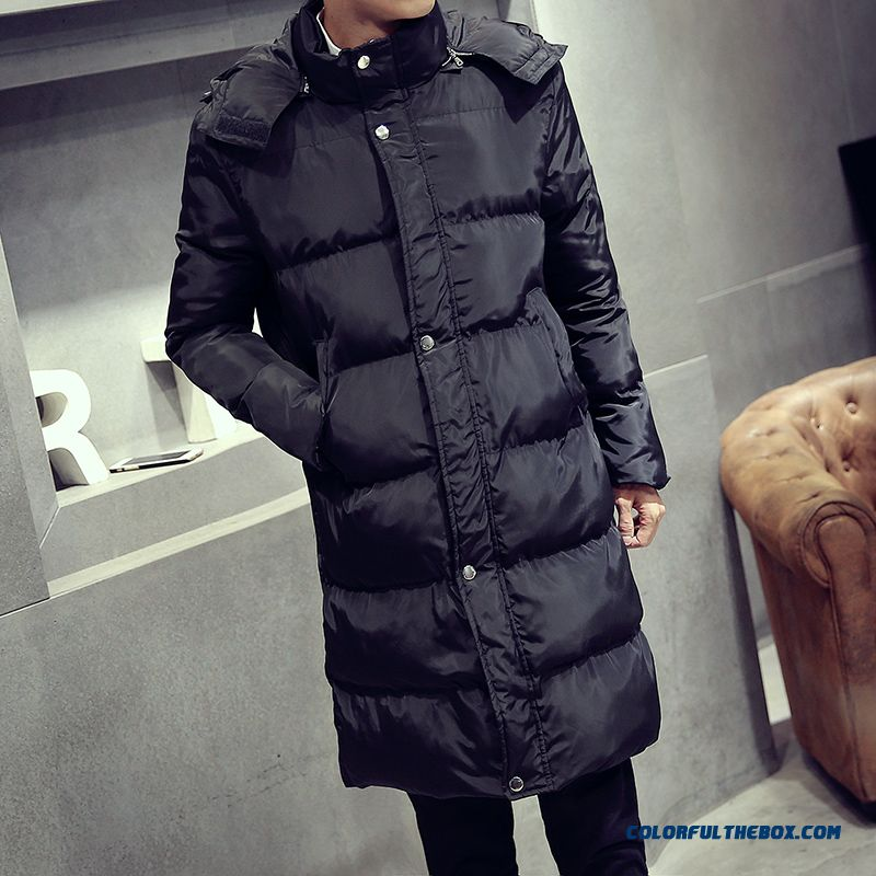 New Brand Fashion Men Medium Style Coats Black Fertilizer Increase Code Keep Warm