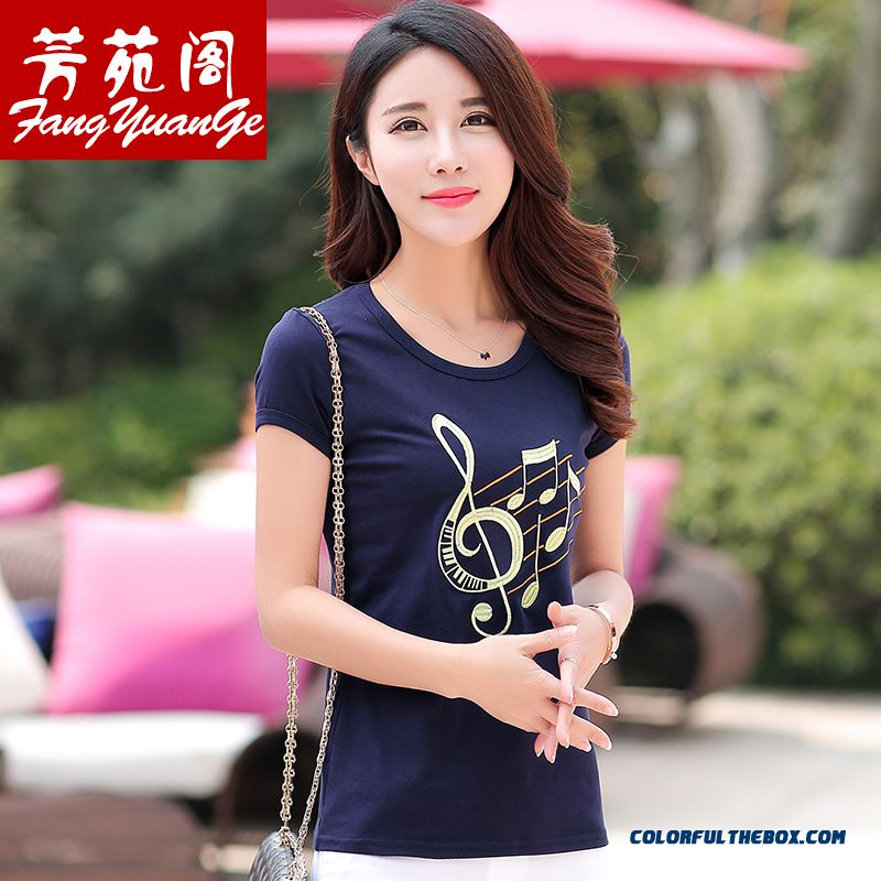 New Brand Fashionable Embroidered T-shirt Women Medium Style Short-sleeved