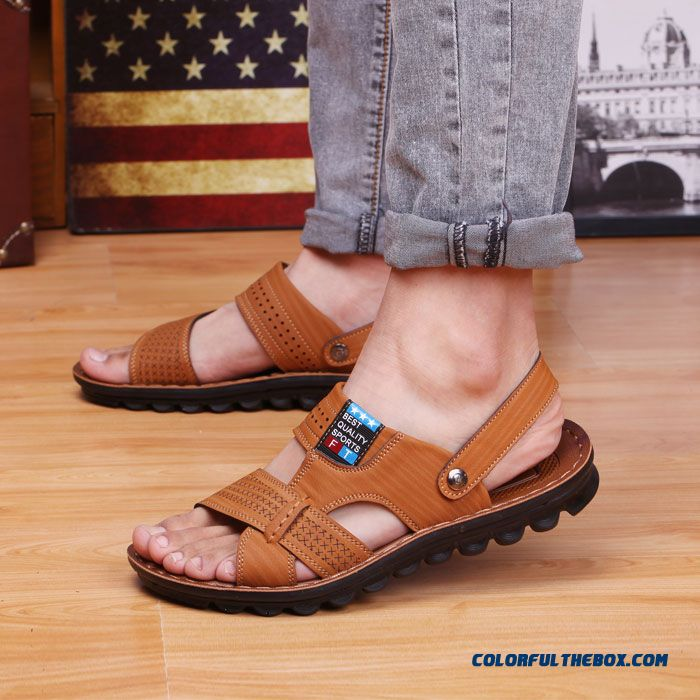 New Breathable Men's Casual Leather Sandals Summer Free Shipping Shoes