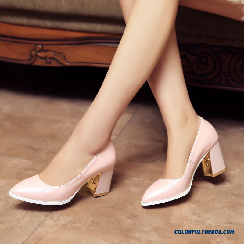 New British Style Simple Rough Heel Pointed Shallow Mouth Leather Women Pumps Shoes