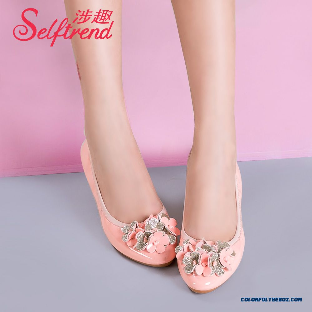 New Candy-colored Collapsible Round-toe Shallow Mouth Flat Shoes Women Soft Bottom