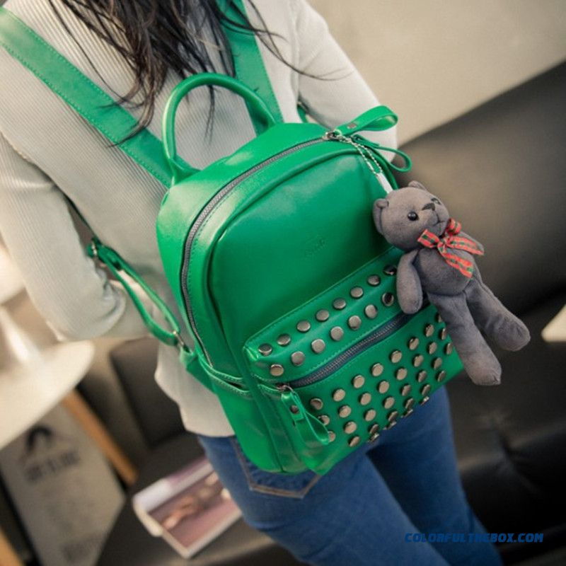 New Candy-colored Fashion Travel Backpack With Rivet For Women