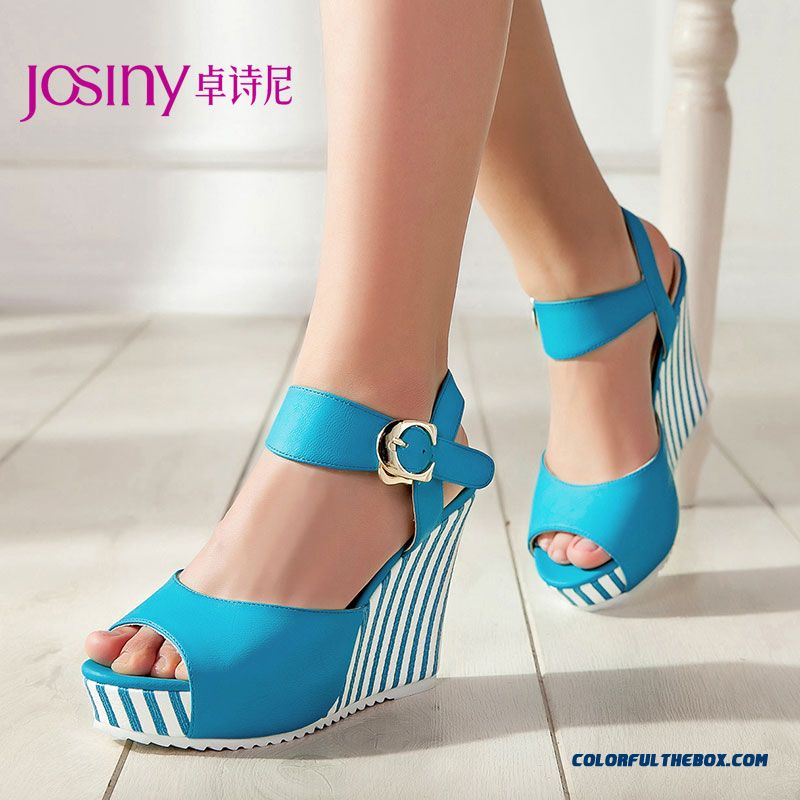 New Casual Summer Sandals High With Wedge Heel Open-toed Women Shoes