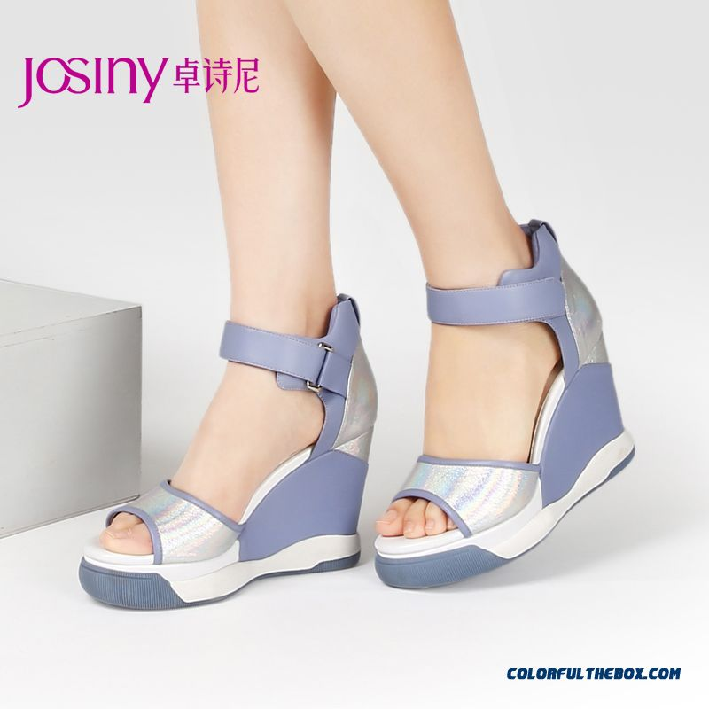 New Casual Summer Sandals Women Higher Heel Open-toed Wedge Heel Velcro