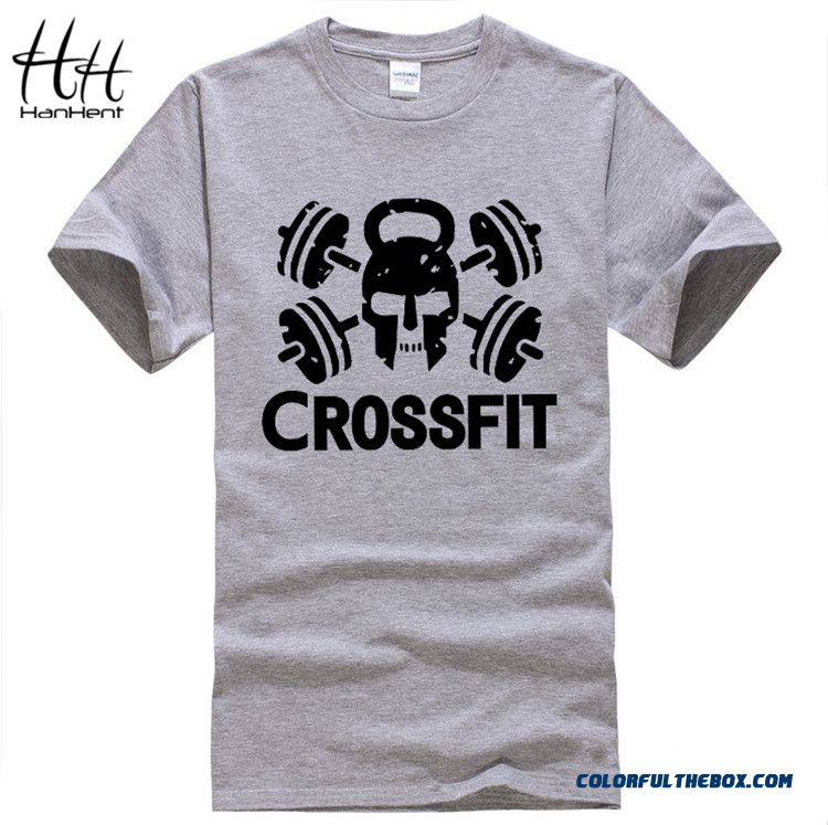 New Cheap Tees Crossfit T Shirts Men Gym Training T-shirt Fitness Sport Top Tees Skull Swag O Neck Cotton Tee Shirt Short Sleeve