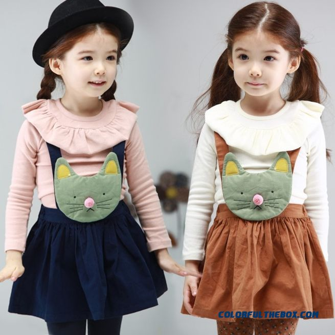 New Children's Clothing For Girls Baby Child Long-sleeved T-shirt Strap Skirt Suit