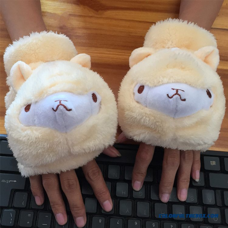 New Clamshell Half Finger Fingerless Plush Alpaca Mittens Touch Screen Gloves For Women - more images 1