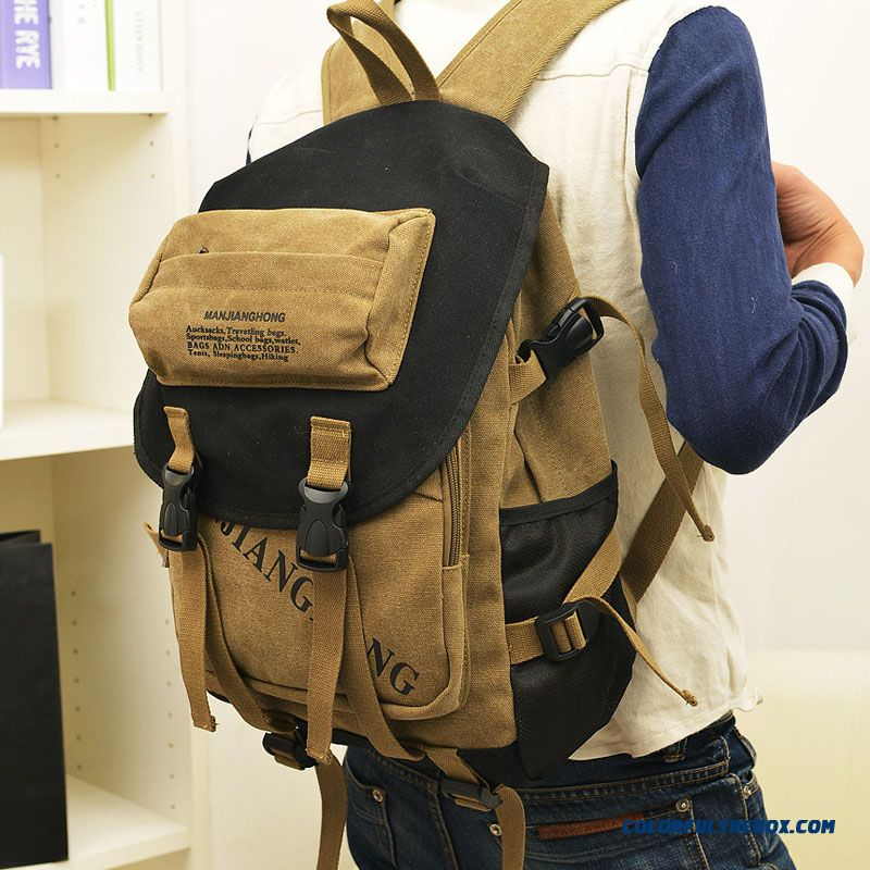 New College Style Personality Unisex Belt Canvas Backpack For Boy Student Men Bags