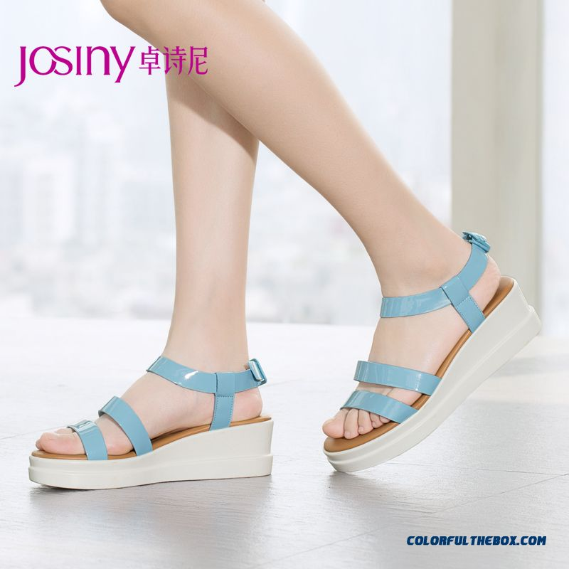 New Comfortable Patent Leather Sandals Women Low-heeled Shoes