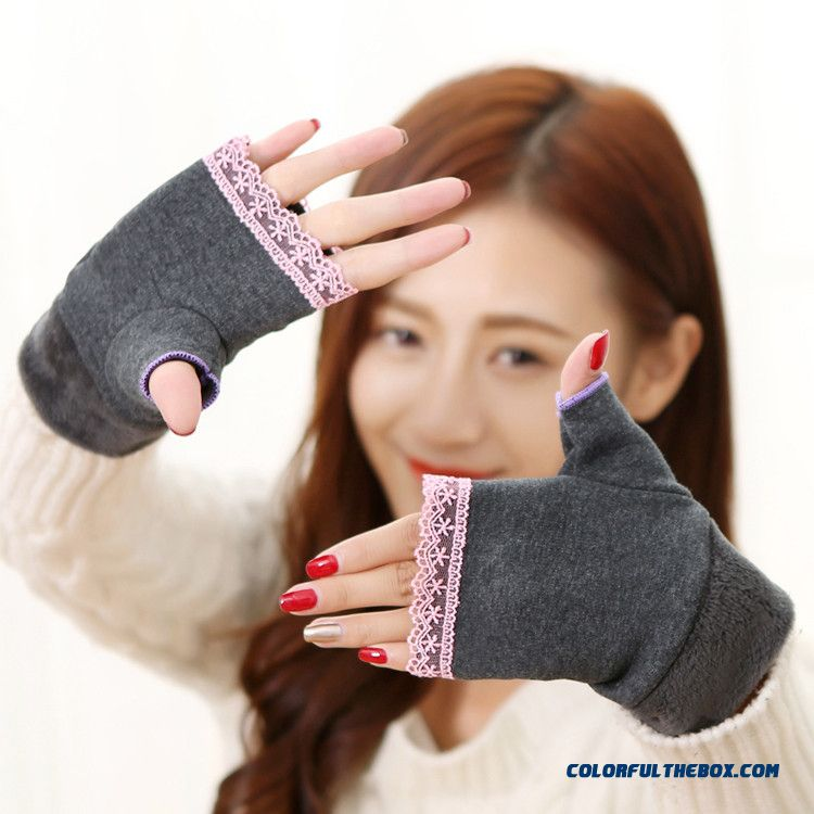 New Cotton Lace Fingerless Mittens Half Finger Short Gloves Cute Computer Office Thicken Women Gloves Accessories
