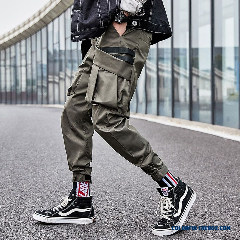 New Cotton Multi-pockets Fashion Cargo Pants Hip Hop Streetwear Casual Elastic Trousers Men Thin Summer Autumn Overalls
