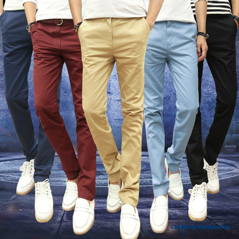 New Cotton Solid Color Casual Slim Small Large Size Straight Long Pants