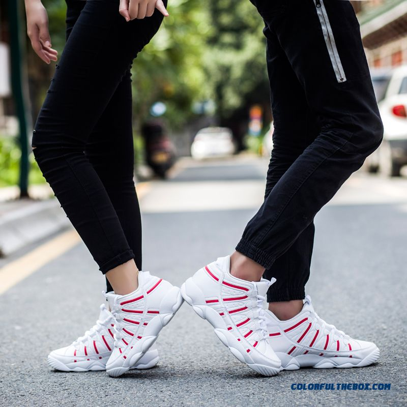 Cheap New Couple Fashion Men Basketball Shoes Black Res White Free