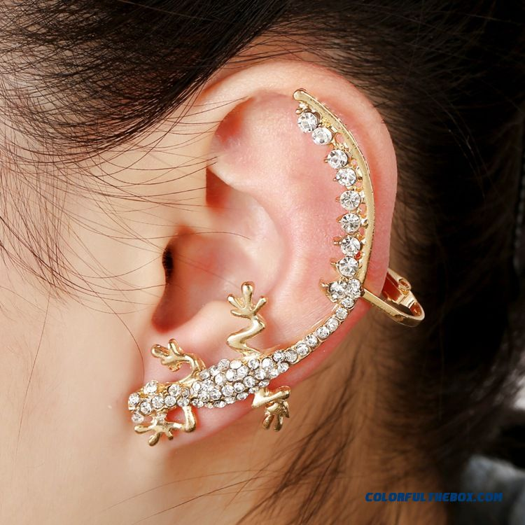 New Creative Women Gecko Diamond Ear Jewelry Punk Exaggerated Earrings