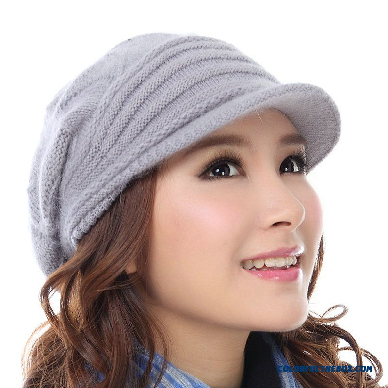 New Cute Double Wool Hat Warm Rabbit Fur Hat Fashional Accessories For Women