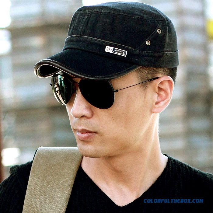New Delicate Texture Cotton Flat-topped Hat Men Cap Sun Hat Peaked Cap Men Accessories