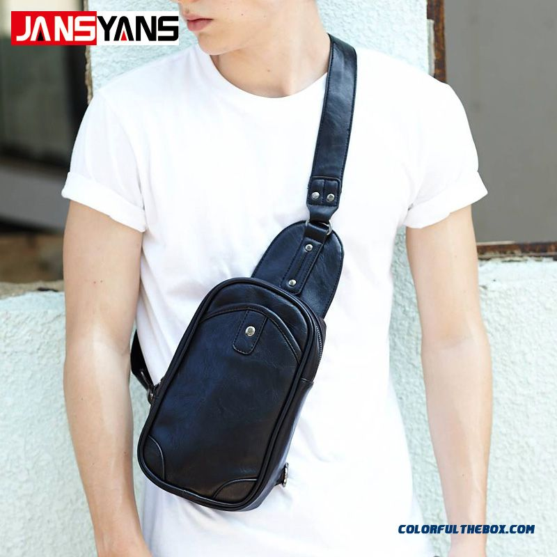 New Design For Men Pu Leather Chest Bag Unique Design Crossbody Bags