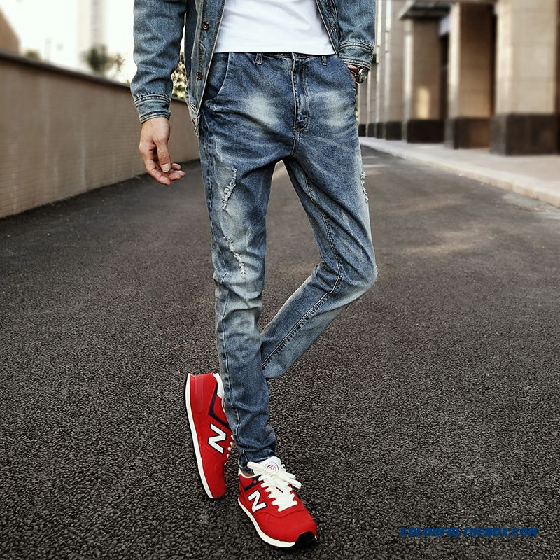 New Design Men Broken Hole Elastic Jeans Clothing Slim Models