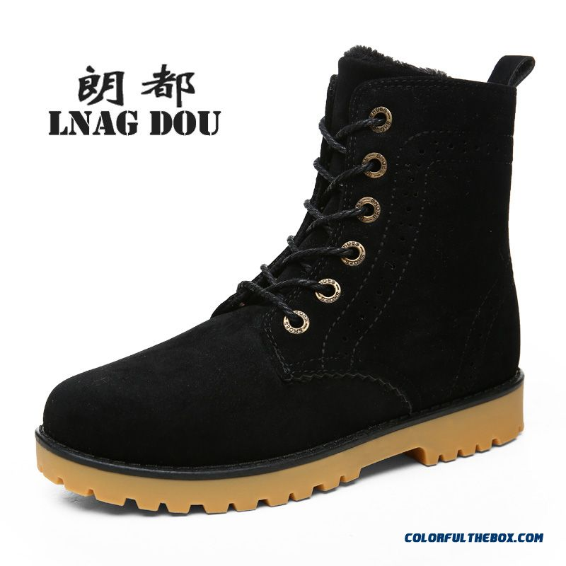 New Design Men Winter Snow Boots Plus Velvet Warm Shoes Black