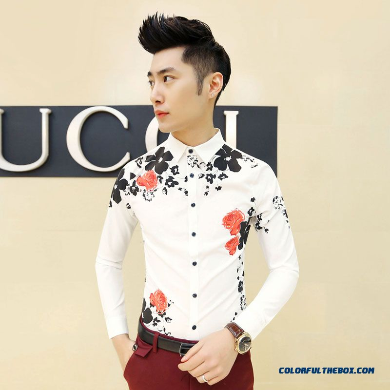 New Design Men's Autumn Slim Long-sleeved Clothing Printing Casual Shirts