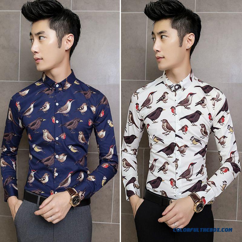 New Design Men's Slim New Long-sleeved Shirt Printing Fashion Autumn