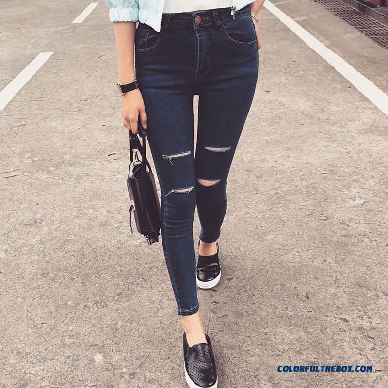 New Design Skinny Jeans With Hole Pencil Women Pants