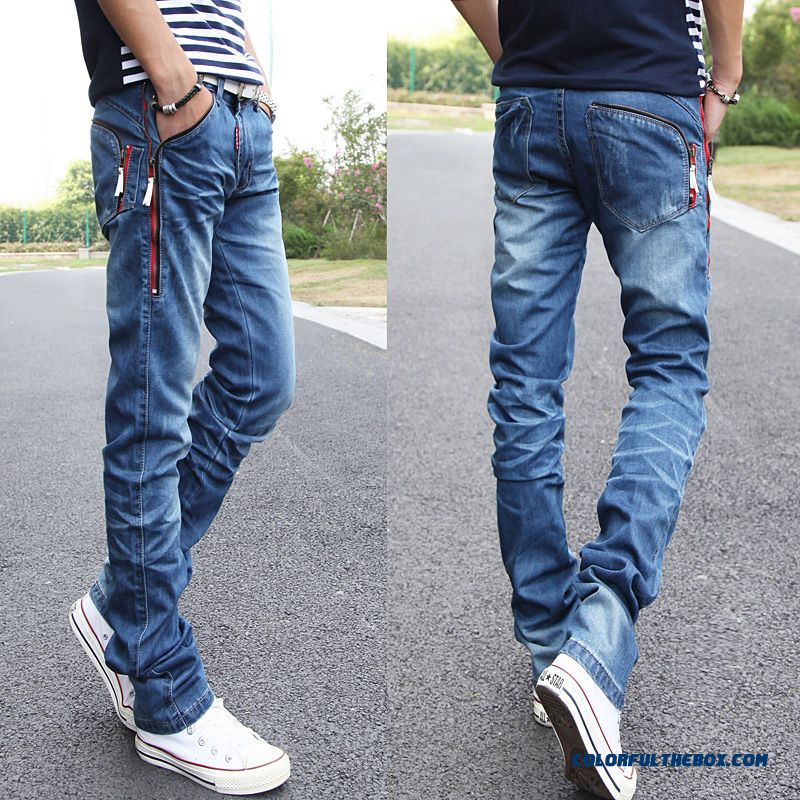 New Design Young Men's Jeans Slim Simple Straight Free Shipping