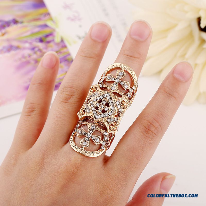 New Designed For Women Diamond Jewelry New Armor Cross Joints Rings - more images 1