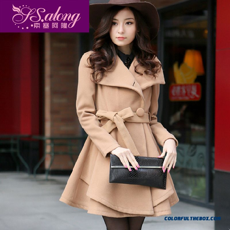 New Elegant Women Winter Woolen Coats Large Size Single-breasted Ladies