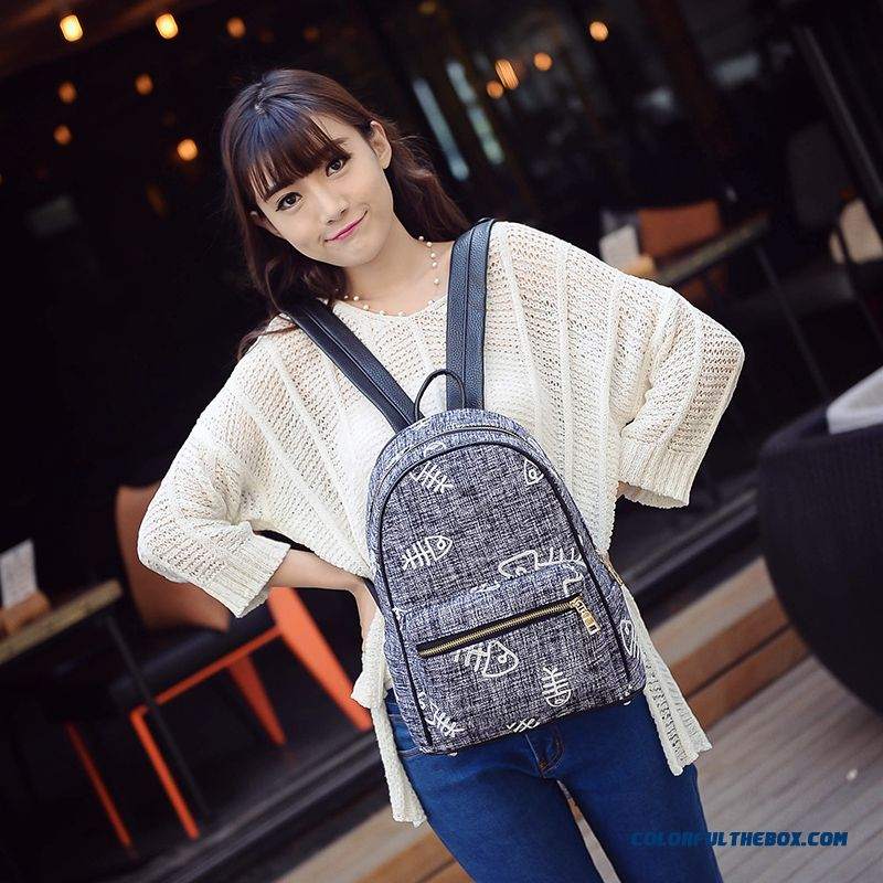 New Embroidered Flowers Fish Bone Woollen Cloth Casual College Style Backpack Schoolbags For Women