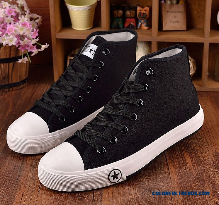 New England Autumn Canvas Shoes Hight Cut Casual Flats Korean Version Of The Black Cloth Shoes For Men