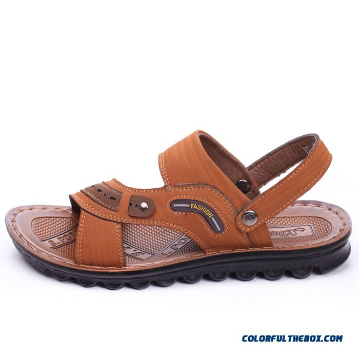 New England Style Breathable Leather Sandals Men's Casual Fashion Beach Shoes
