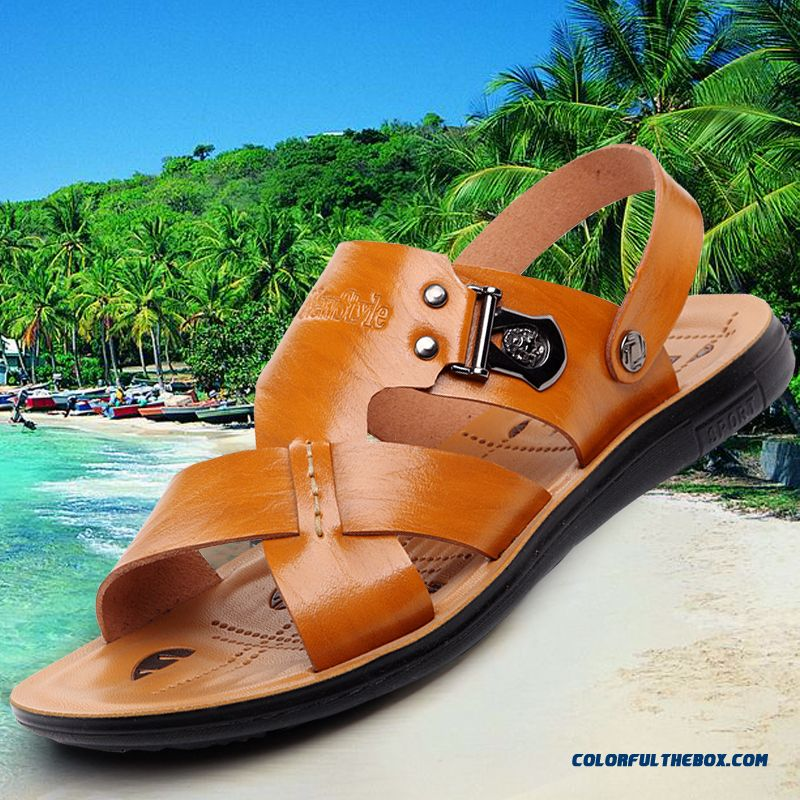 New England Style Of Men's Leather Sandals Summer Open Toe Beach Shoes