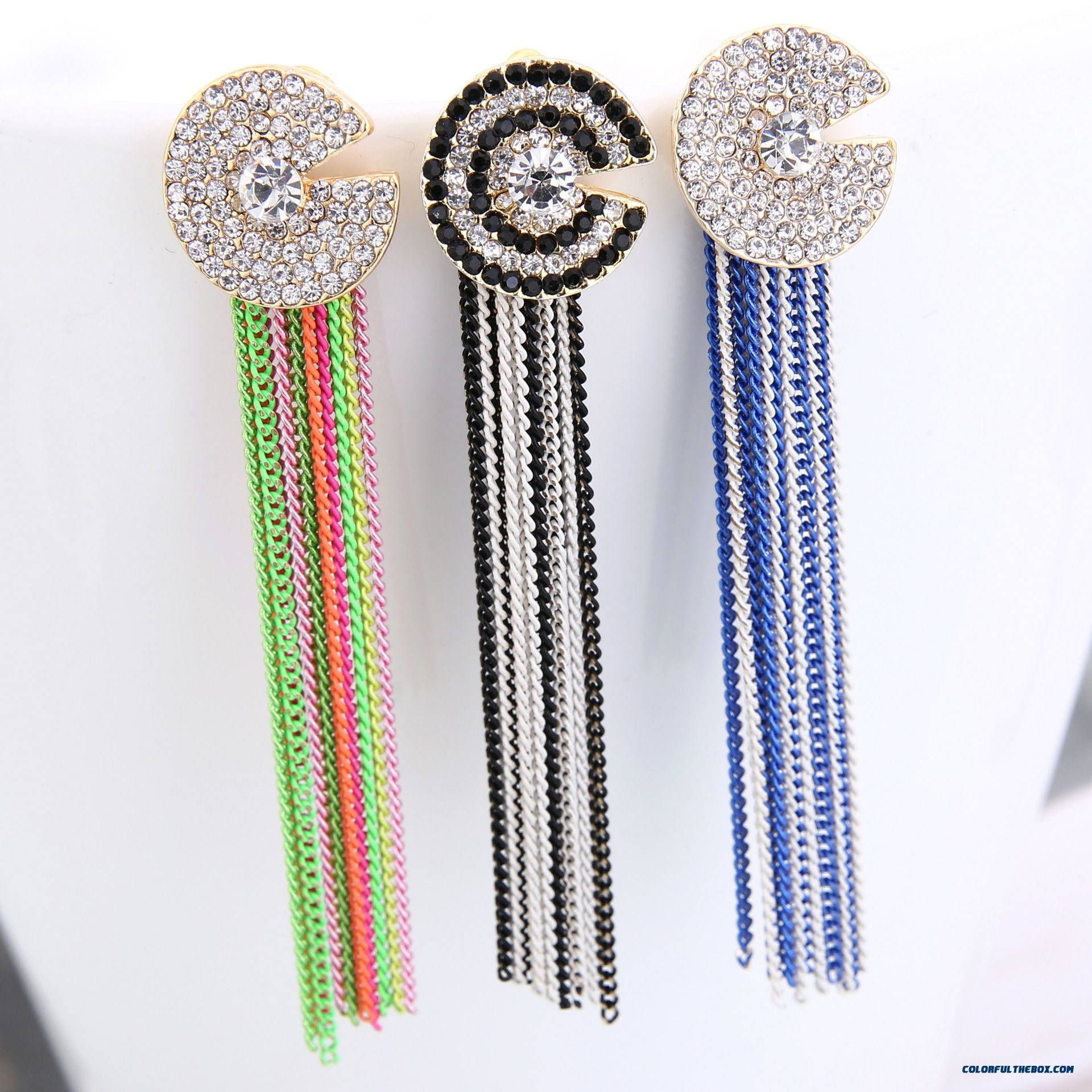 New Europe And The C-shaped Chain Full Of Diamond Tassel Stud Earrings Women Jewelry