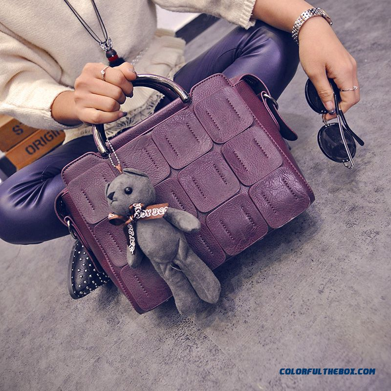 New European And American Fashion Style Personalized Splicing Women's Bags Top-handle Bags With Bear Pendant