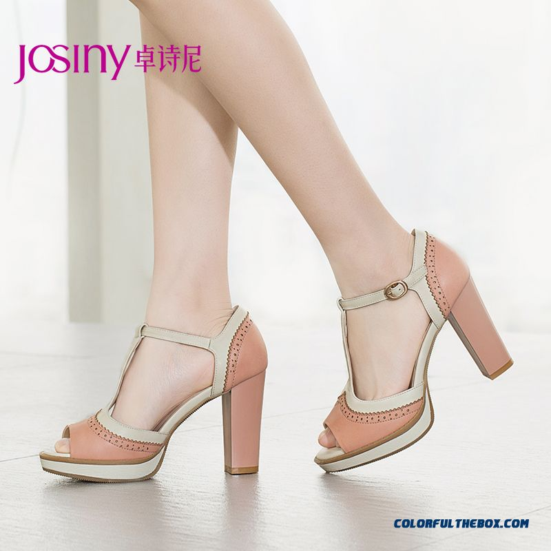 New European And American Style Of Summer Sandals Higher Heel Open-toed Women Shoes With Rough Heel Buckle