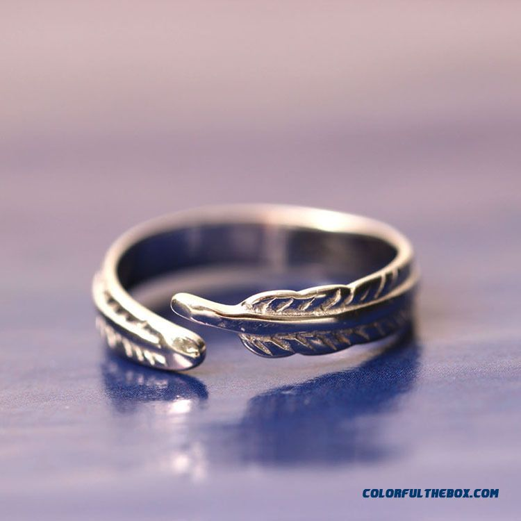 New Factory Direct Sales 925 Silver Creative Wholesale Feather Jewelry Ring Women Ring Opening
