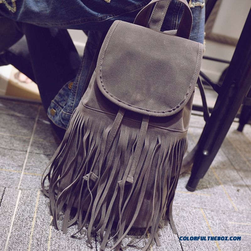 New Fall Nubuck Leather Retro Schoolbags College Style Fringed Bag For Women - more images 1
