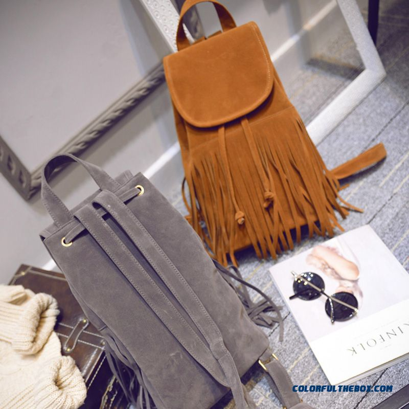 New Fall Nubuck Leather Retro Schoolbags College Style Fringed Bag For Women - more images 3