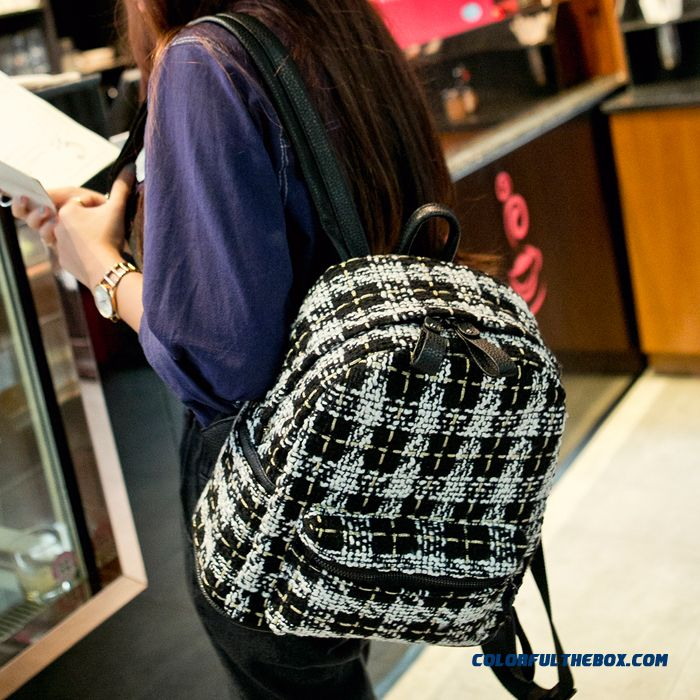 New Fall Women Woolen Backpacks College Style Schoolbags Woman High Capacity Travel Backpack