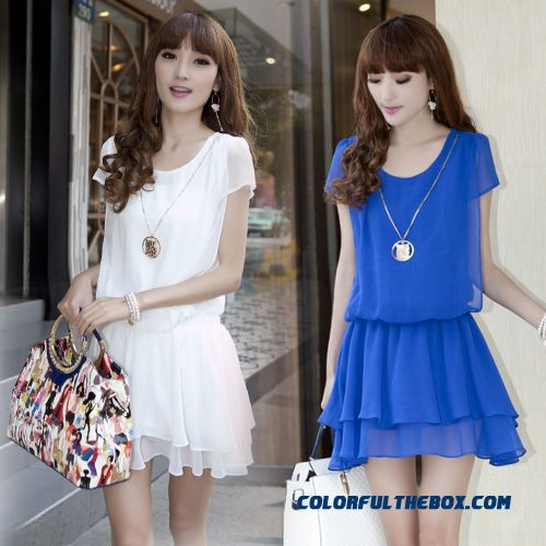 New Fashion Chiffon Women Dress Short Sleeve Large Size Slim Summer