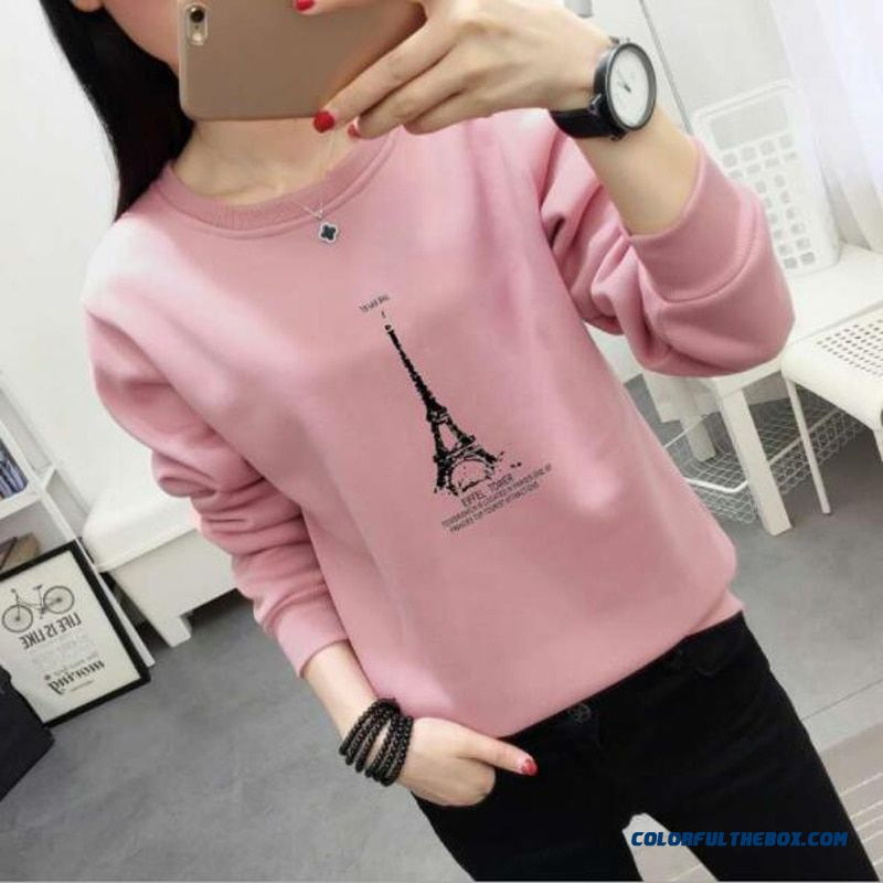 New Fashion Hoodie Women Spring Autumn Eiffel Tower Print Long Sleeve O Neck Ladies Sweatshirt Loose Sudaderas Mujer
