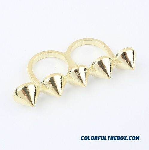New Fashion Jewelry Textured Punk Style Pointed Cone Bicyclic Ring Jewelry For Women