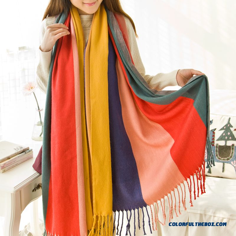 New Fashion Ladies Colored Spodoptera Mixed Colors Hit Color Soft Women Accessories Scarves