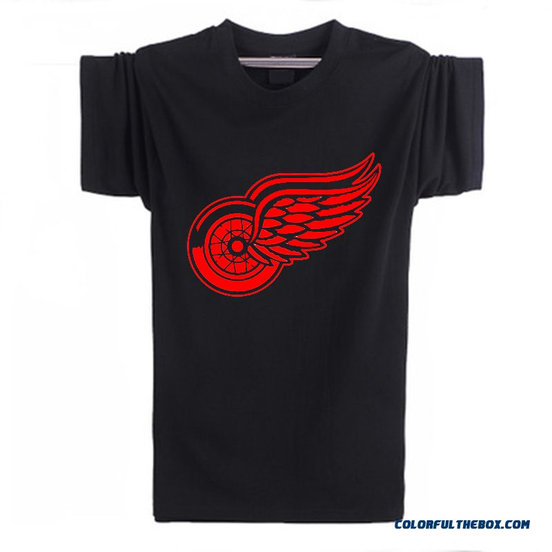 New Fashion Summer 2016 Detroit Red Wings T-shirt Cotton Big & Tall Logo Wings Hockey Short Sleeve Hip Hop Tshirt Men Camisa